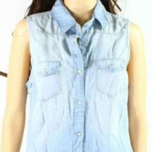 Current Elliott Chambray Crystal Trim Blouse